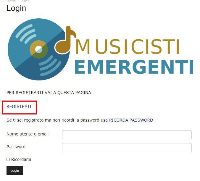 Come registrarsi sul sito di Musicisti Emergenti